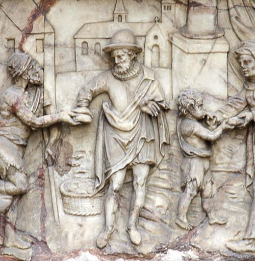 Feeding the Hungry, relief-carved alabaster panel, 's-Hertogenbosch, choir screen, 1610-13