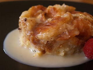 White choc. bread pudding